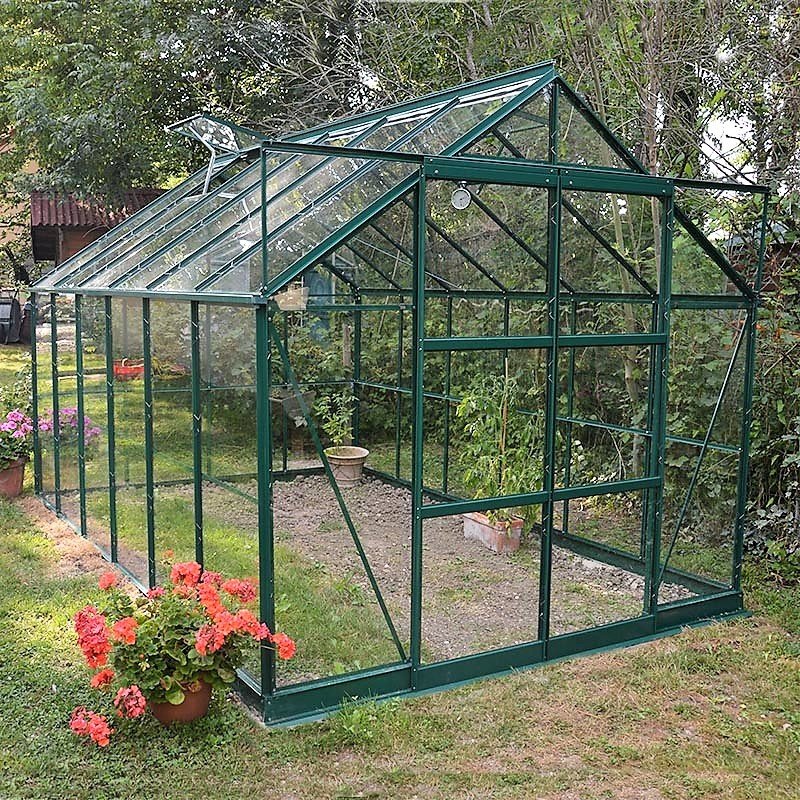 serre de jardin avec base en aluminium laqu vert et verre tremp. Black Bedroom Furniture Sets. Home Design Ideas