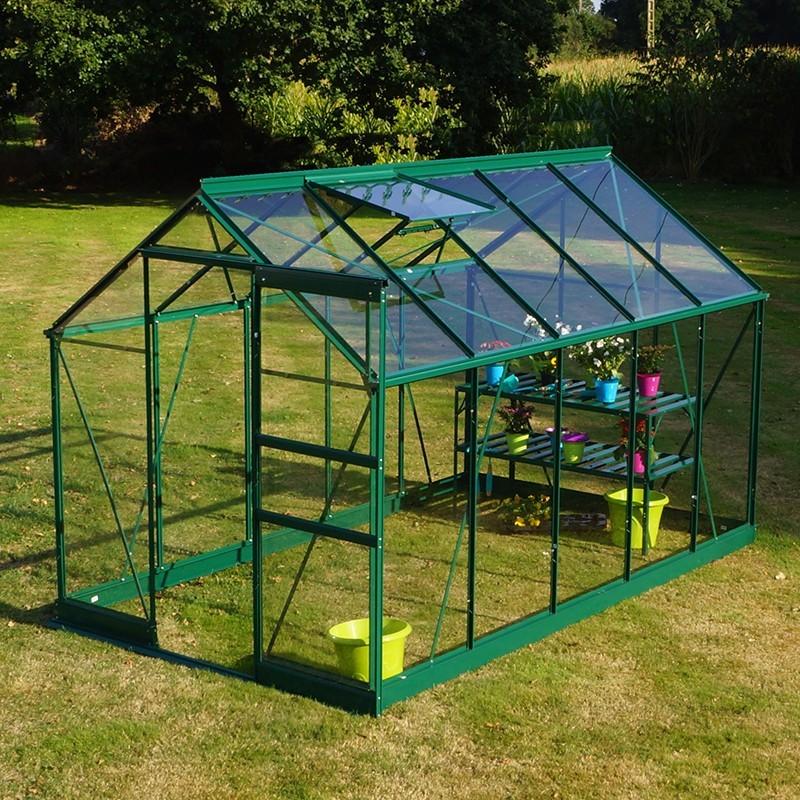 Serre de jardin de qualit en verre tremp et aluminium - Comment monter une serre de jardin ...