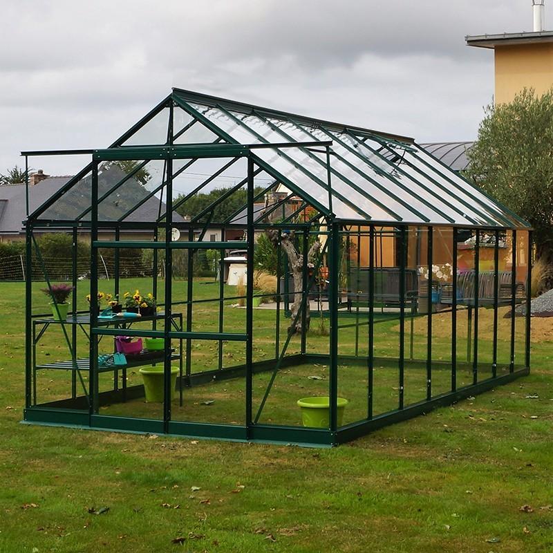 Grande serre de jardin en aluminium laqué vert et verre trempé à ...