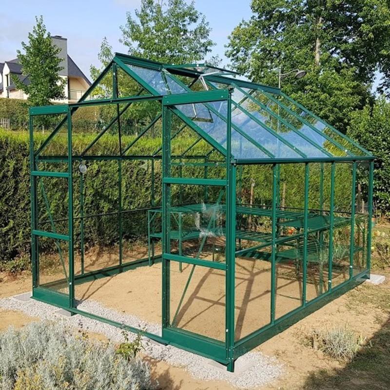 Serre de jardin jade en verre tremp 4mm avec base - Comment monter une serre de jardin ...