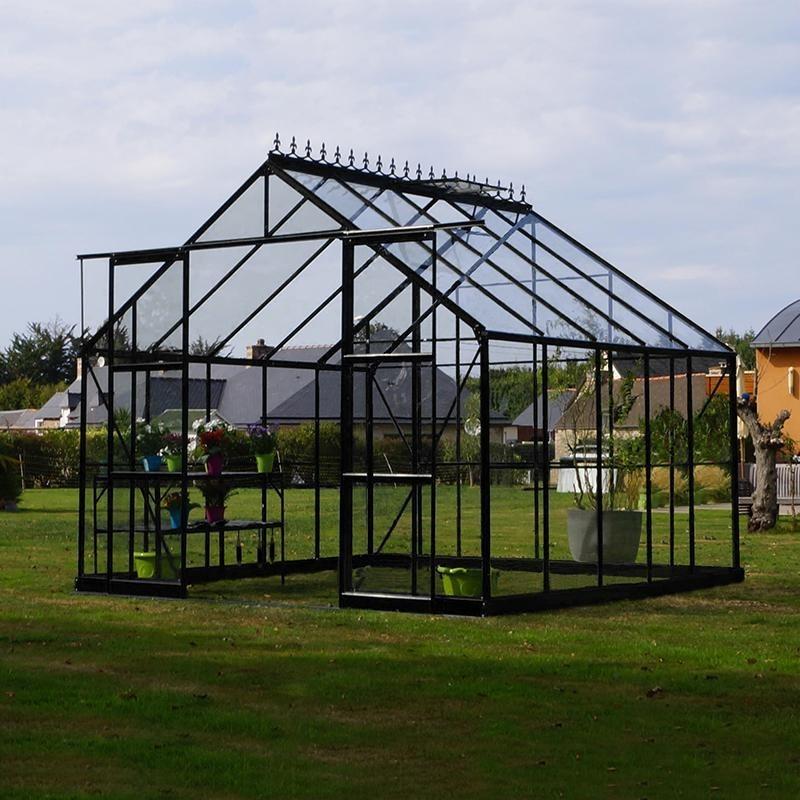 grande serre de jardin carr e en aluminium laqu noir et verre tremp petit prix. Black Bedroom Furniture Sets. Home Design Ideas