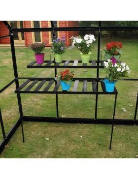 Grande serre de jardin carr e en aluminium laqu noir et - Comment monter une serre de jardin ...