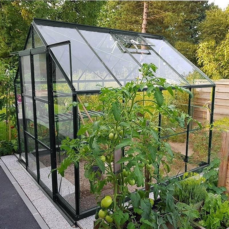 Serre de jardin jade m en verre tremp 4 mm avec base - Comment monter une serre de jardin ...