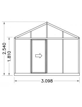 serre helios senior 14 20m janssens alu naturel et polycarbonate avec base. Black Bedroom Furniture Sets. Home Design Ideas