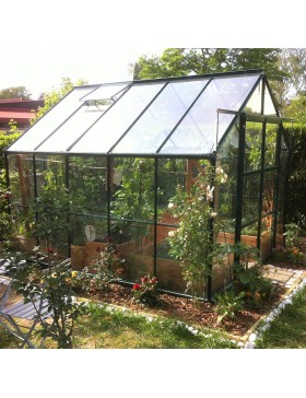 Serre de jardin Jade en verre trempé 4mm avec base