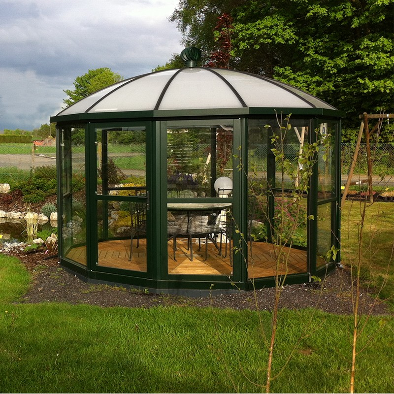 Serre carrousel 10 69m janssens alu laqu et verre tremp - Comment monter une serre de jardin ...